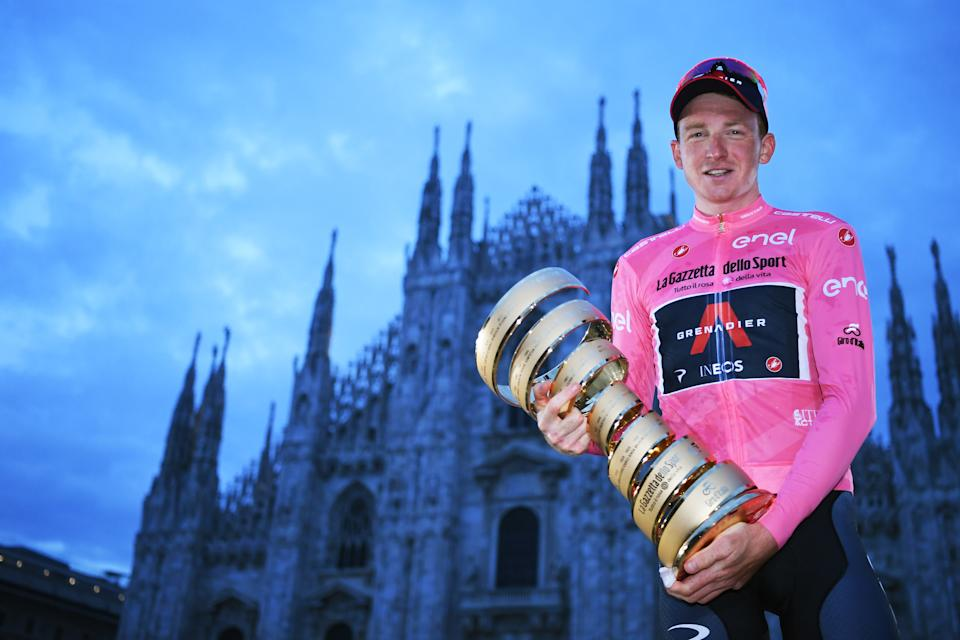 Tao Geoghegan Hart celebrates his victory in the Tour of Italy, one of cycling's three Grand Tours.