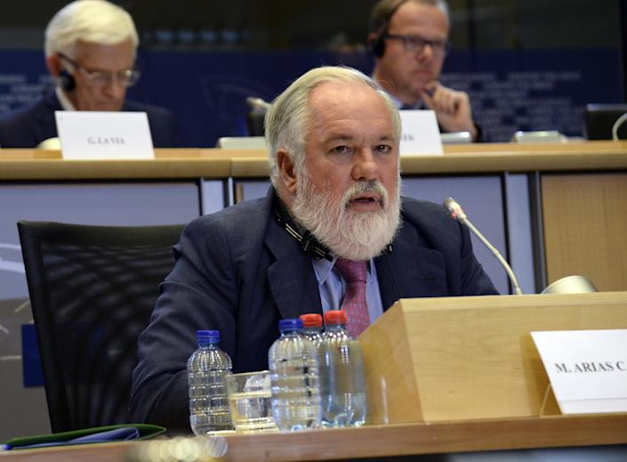 Miguel Arias Canete, from Spain, attends his hearing at the European Parliament in Brussels on October 1, 2014 (AFP Photo/Thierry Charlier)