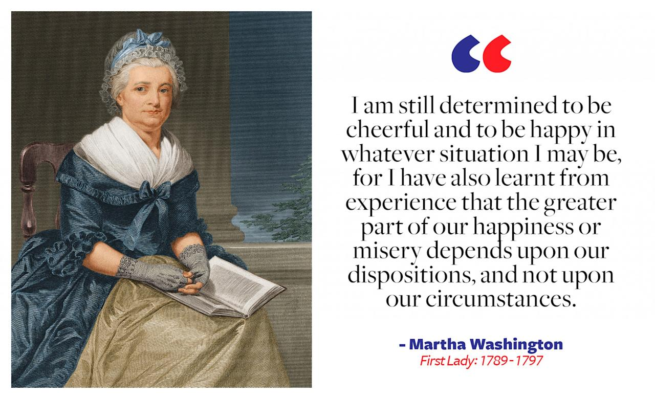 """<p>Interestingly, Martha was not deemed """"first lady"""" until after her death, as the title had not yet been officially coined. Throughout the course of her marriage, Martha was a loyal and supportive wife to George, and during her time in the presidential mansion (the White House wasn't built yet), she helped create a warm and welcoming environment, hosting regular Friday night gatherings for members of Congress and the local community . </p>"""