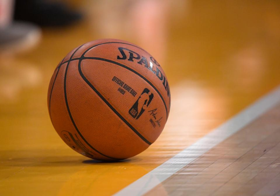 LOS ANGELES, CA - DECEMBER 25:  The official game ball rests on the court during the game between the Los Angeles Lakers and the Los Angeles Clippers at Staples Center on December 25, 2019 in Los Angeles, California. NOTE TO USER: User expressly acknowledges and agrees that, by downloading and/or using this Photograph, user is consenting to the terms and conditions of the Getty Images License Agreement. (Photo by Jayne Kamin-Oncea/Getty Images)