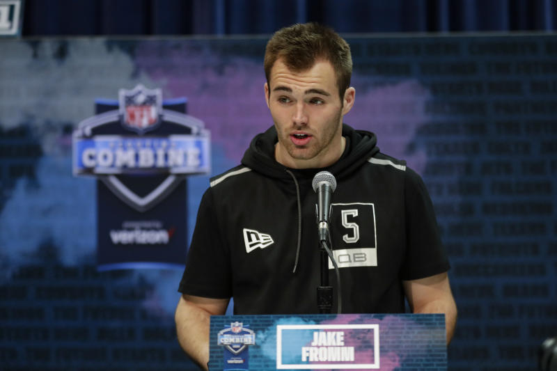 Bills rookie Jake Fromm apologized on Twitter for a private text-message comment he made back in 2019. (AP Photo/Michael Conroy)