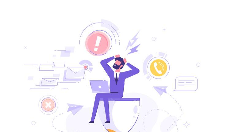Tired and exasperated office worker is sitting on an hourglass and grabbed his head with business process icons and infographics on background. Stress in the office. Rush work. Deadline. Vector.