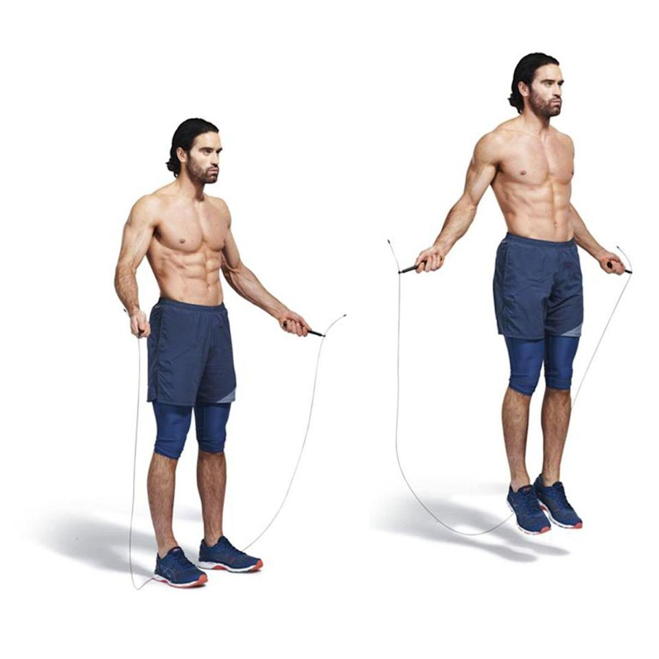 <ol><li>Grab the rope at both ends. </li><li>Use your wrists to flick it round your body, jumping to clear the rope as it hits the ground.</li></ol><p><strong>Men's Health says: </strong>Make the move more intense with double-unders – letting the rope pass round your twice for every jump</p>