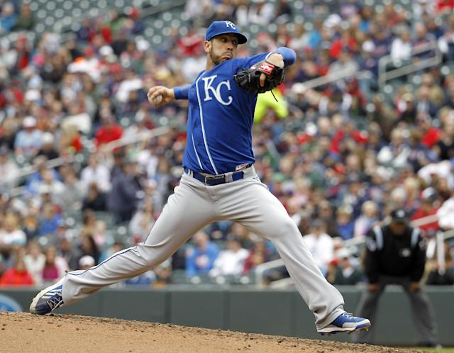 Kansas City Royals pitcher James Shields delivers to the Minnesota Twins during the third inning of a baseball game in Minneapolis, Saturday, April 12, 2014. The Twins won 7-1. (AP Photo/Ann Heisenfelt)