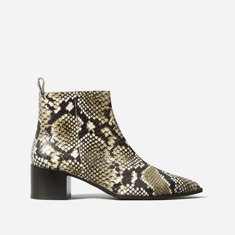 """<h3><a href=""""https://www.everlane.com/products/womens-boss-boot-black-white-snake?collection=womens-boots"""" rel=""""nofollow noopener"""" target=""""_blank"""" data-ylk=""""slk:The Boss Boot"""" class=""""link rapid-noclick-resp"""">The Boss Boot</a></h3><br>Our associate social media editor Hannah Buillon has <a href=""""https://www.refinery29.com/en-us/most-comfortable-boots#slide-11"""" rel=""""nofollow noopener"""" target=""""_blank"""" data-ylk=""""slk:relied on her Boss Boots"""" class=""""link rapid-noclick-resp"""">relied on her Boss Boots</a> to maintain comfort and elegance for over two years. <br><br><strong>Everlane</strong> The Boss Boot, $, available at <a href=""""https://go.skimresources.com/?id=30283X879131&url=https%3A%2F%2Fwww.everlane.com%2Fproducts%2Fwomens-boss-boot-black-white-snake%3Fcollection%3Dwomens-boots"""" rel=""""nofollow noopener"""" target=""""_blank"""" data-ylk=""""slk:Everlane"""" class=""""link rapid-noclick-resp"""">Everlane</a>"""