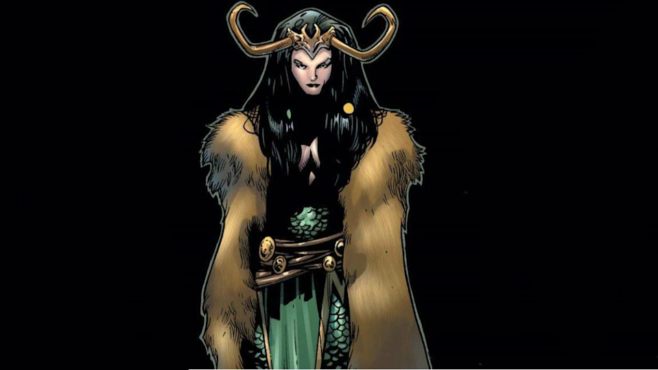 lady loki stands against a black background looking cool