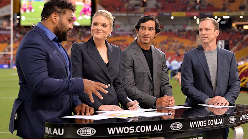 Sam Thaiday, Erin Molan, Jonathan Thurston and Darren Lockyer, pictured here on Channel Nine in 2019.