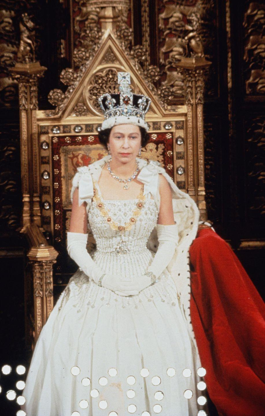 <p>On January 1, 1967, the Queen wore the Imperial State Crown along with the diamond necklace she had worn for her coronation. The crown was made for the coronation of King George VI in 1937 and is set with 2868 diamonds in silver mounts, largely table-, rose- and brilliant-cut, and colored stones in gold mounts, including 17 sapphires, 11 emeralds and 269 pearls. </p>