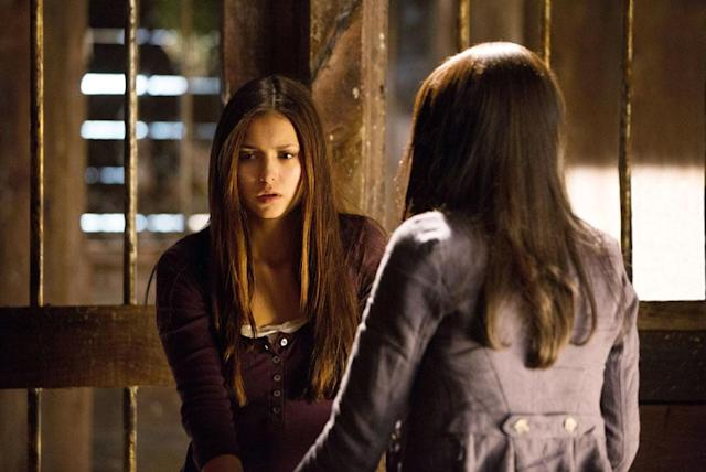 "Nina Dobrev as Elena and Kat Graham as Bonnie in ""Growing Pains,"" the Season 4 premiere episode of ""The Vampire Diaries."""