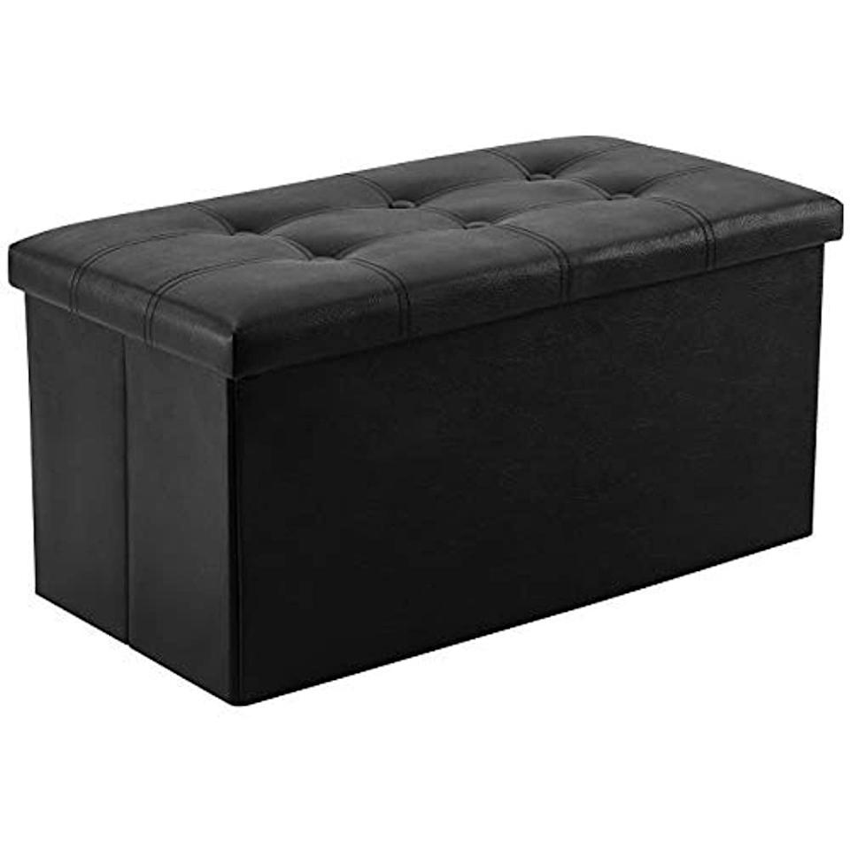 """<p>You can't go wrong with this <span>Youdenova Folding Storage Ottoman</span> ($36-$37). The 30-inch ottoman can be used as a foot rest, extra seating, and, of course, as a storage solution. It comes in both """"like new"""" and """"very good"""" conditions. </p>"""