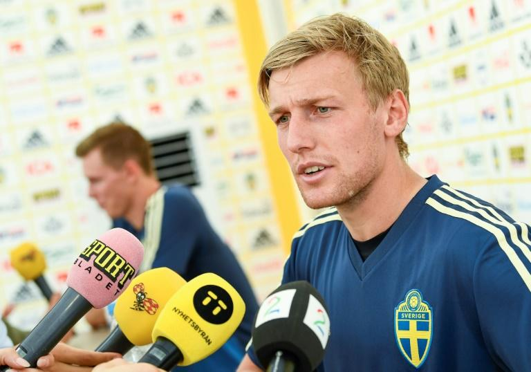 Emil Forsberg speaks to the media at Sweden's Black Sea base