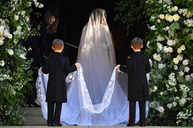 <p>The train on Markle's dress was about 16 feeet long. (Photo: Getty) </p>