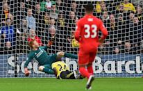 Watford's Odion Ighalo heads his second goal past Adam Bogdan at Vicarage Road on December 20, 2015 (AFP Photo/Ben Stanshall)