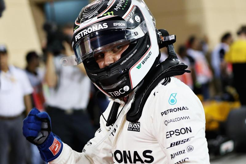 On pole: Valtteri Bottas celebrates after clinching pole: Getty Images