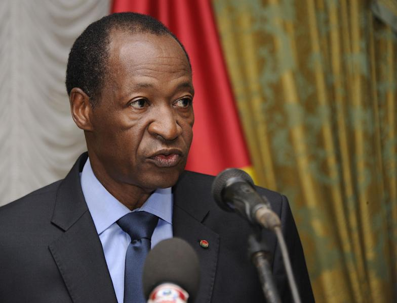 Burkina Faso's then president Blaise Compaore speaks at the Presidential Palace in Ouagadougou on July 26, 2014 (AFP Photo/Sia Kambou)