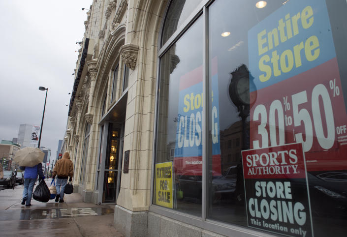 DENVER, CO - APRIL 26: Customers come and go from the Sports Authority flagship 'Sports Castle' at 1000 Broadway in Denver on Tuesday, April 26, 2016. Sports Authority has abandoned hope of reorganizing and exiting bankruptcy and instead will count on buyers to save parts of its sprawling retail chain, company lawyer Robert Klyman told a judge Tuesday.(Photo by Kathryn Scott Osler/The Denver Post via Getty Images)