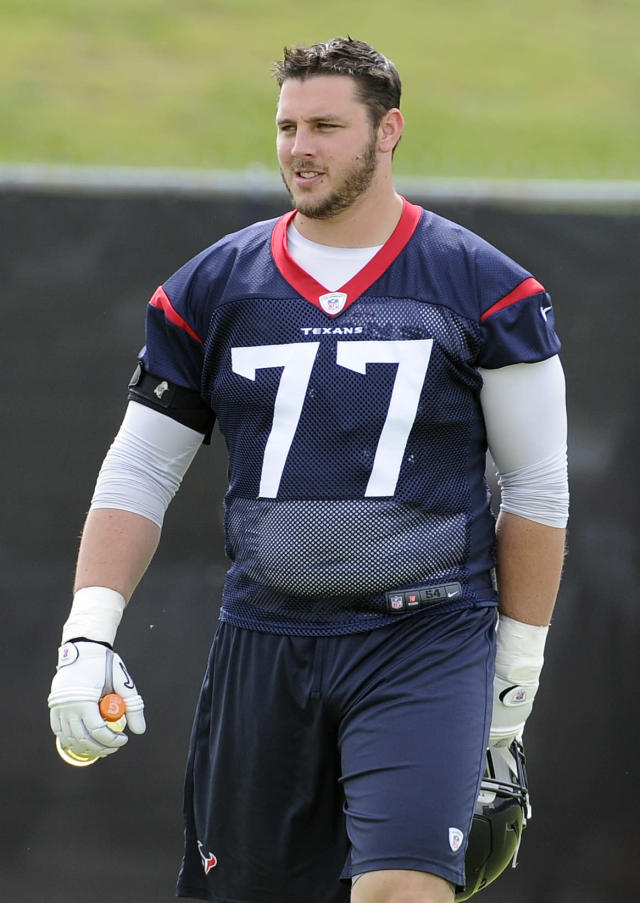 Houston Texans offensive tackle David Quessenberry takes the field during a voluntary veteran football mini-camp Wednesday, May 7, 2014, in Houston. (AP Photo/Pat Sullivan)