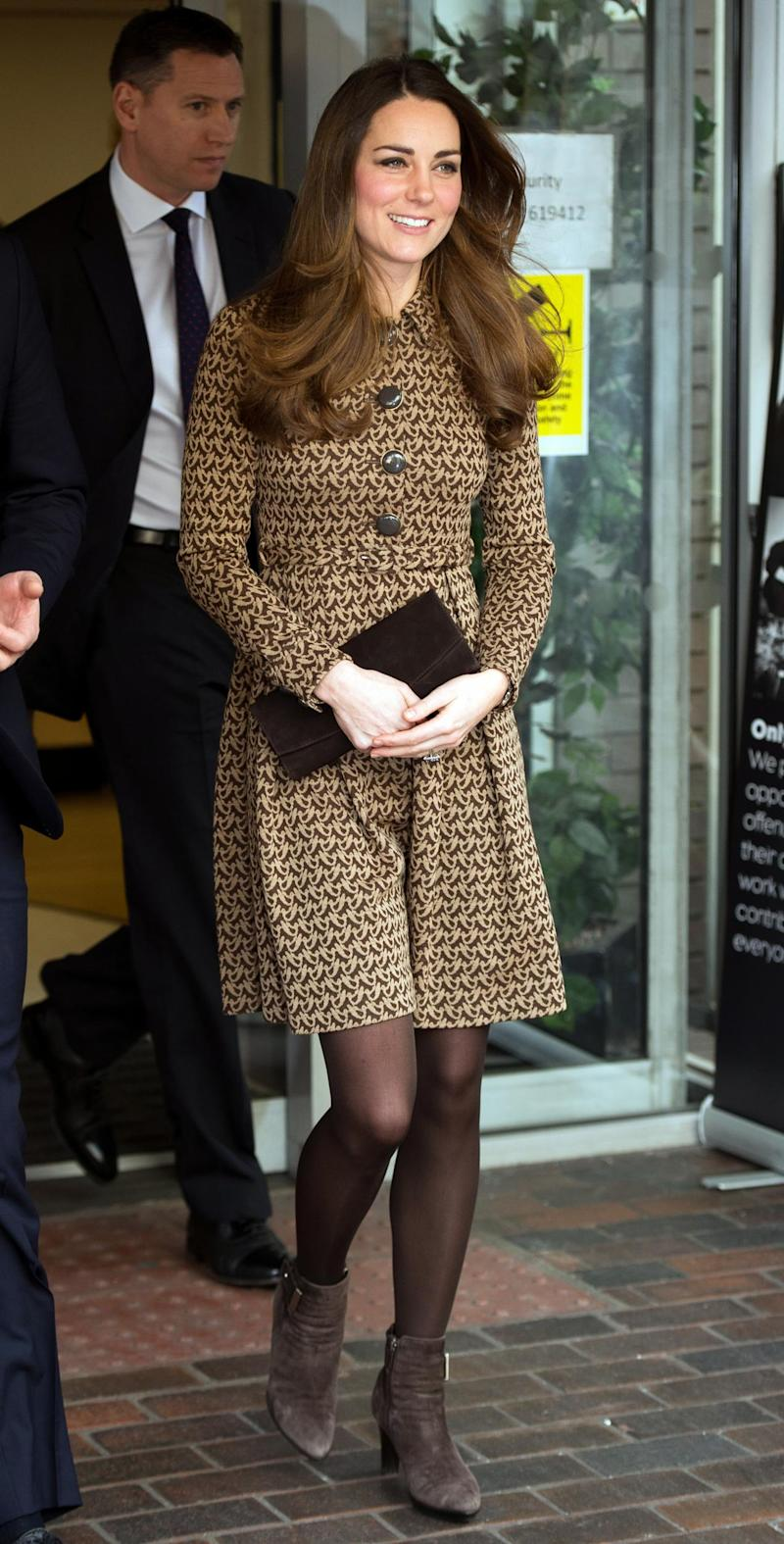 Kate, the Duchess of Cambridge, wearing an Orla Kiely dress (AFP/Getty Images)