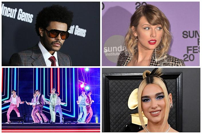 Clockwise from top left: The Weeknd, Taylor Swift, Dua Lipa and BTS (Rex)