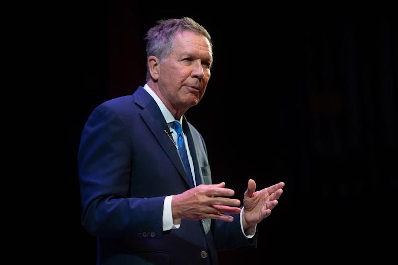 Former Ohio Governor John Kasich, a 2016 Republican presidential contender, speaking at Molloy College in Rockville Centre, New York on April 10, 2019, about