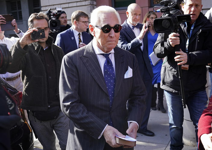 Roger Stone, a former adviser to President Trump, leaves court in Washington, D.C., on Nov. 15 after being found guilty of obstructing a congressional investigation into Russia's interference in the 2016 election. (Photo: Win McNamee/Getty Images)