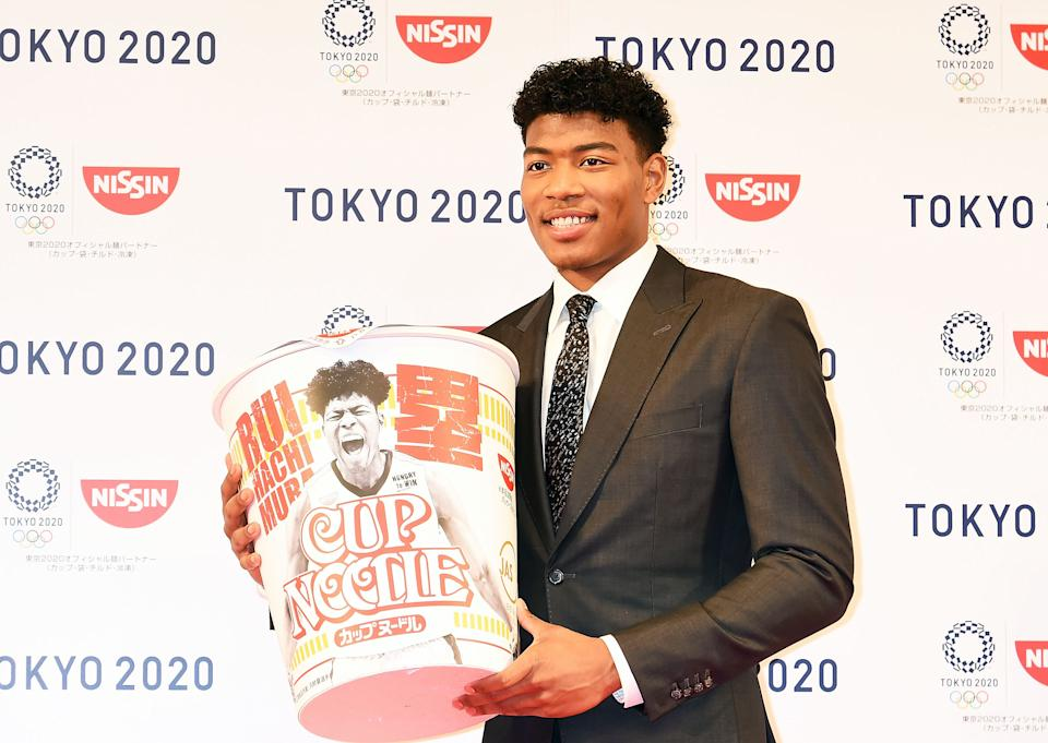 TOKYO, JAPAN - JULY 22:  Washington Wizards rookie Rui Hachimura attends the Nissin Foods press conference at Keio Plaza Hotel on July 22, 2019 in Tokyo, Japan.  (Photo by Jun Sato/WireImage)