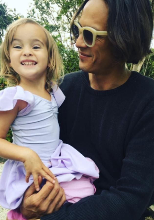 Naia is pictured with her father and David Letts. Photo: Instagram