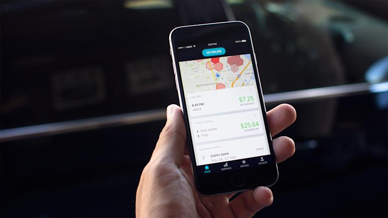 The Uber app shown on a phone