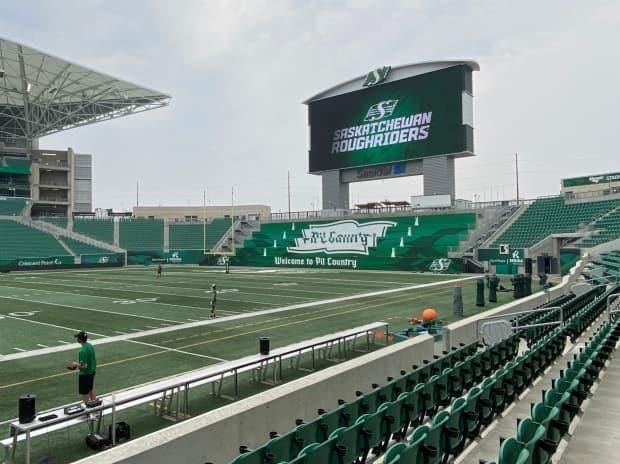 Friday evening, the Saskatchewan Roughriders will host their first game at Mosaic Stadium under its new rules requiring proof of COVID-19 vaccine or a recent negative test. (Matthew Howard/CBC News - image credit)