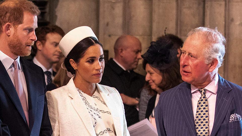 Britain's Meghan, Duchess of Sussex, Prince Harry, Duke of Sussex and prince charles
