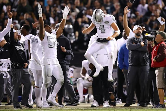 "Oakland Raiders quarterback Derek Carr said that while the Khallil Mack trade ""isn't what anybody wanted,"" the team hasn't had any choice but to get back to work ahead of their season opener on Monday. (Getty Images)"