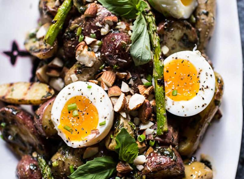 grilled potato salad with almond-basil chimichurri and 7-minute eggs
