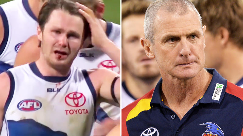 Patrick Dangerfield, pictured here breaking down on field after Phil Walsh was killed.