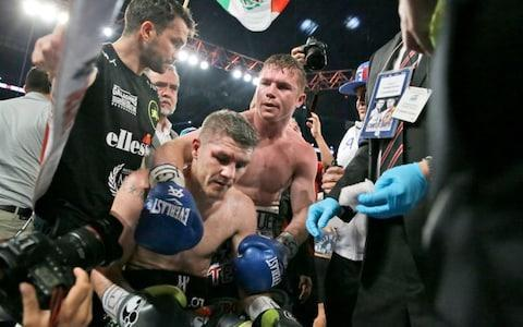 <span>Canelo Alvarez beat Great Britain's Liam Smith in a ninth-round stoppage to win the WBO middleweight title</span> <span>Credit: AP </span>