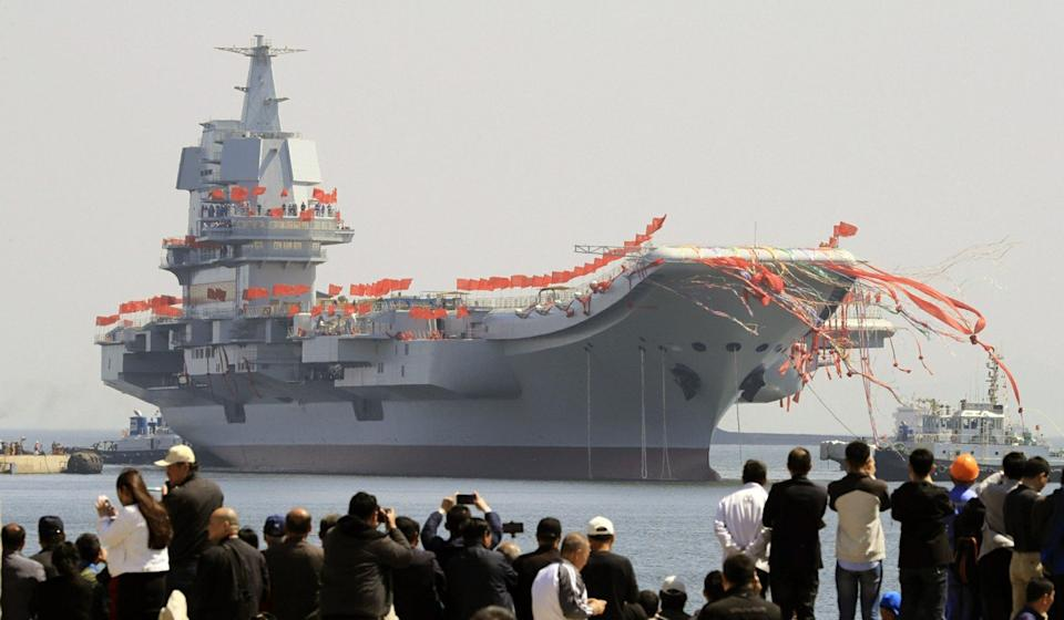 The Shandong officially entered service in a ceremony in Hainan. Photo: Handout