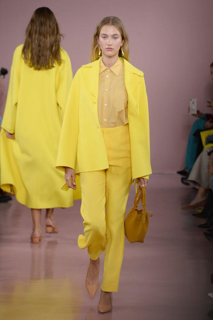 <p>Look out pink, as there's a new colour on the block. Sunshine yellow lit up the runway on countless occasions at New York Fashion Week. Look to Mansur Gavriel for lessons in how to drench yourself in the happy hue. <em>[Photo: Getty]</em> </p>