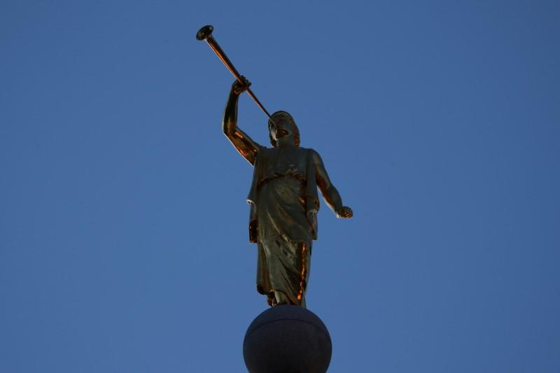 FILE PHOTO: The top of the Mormon Temple is shown at Temple Square downtown Salt Lake City