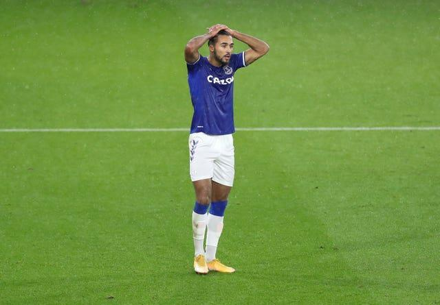 Everton striker Dominic Calvert-Lewin stands with his hands on his head