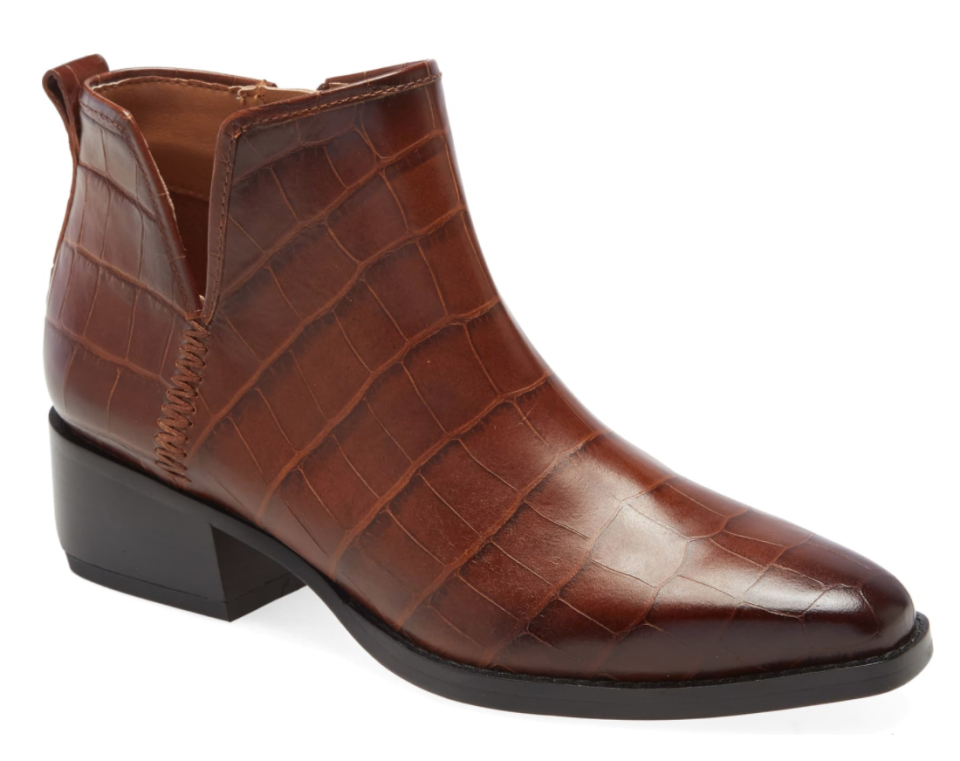 SARTO By Franco Sarto Asti Bootie in Caramel Croco Print Leather