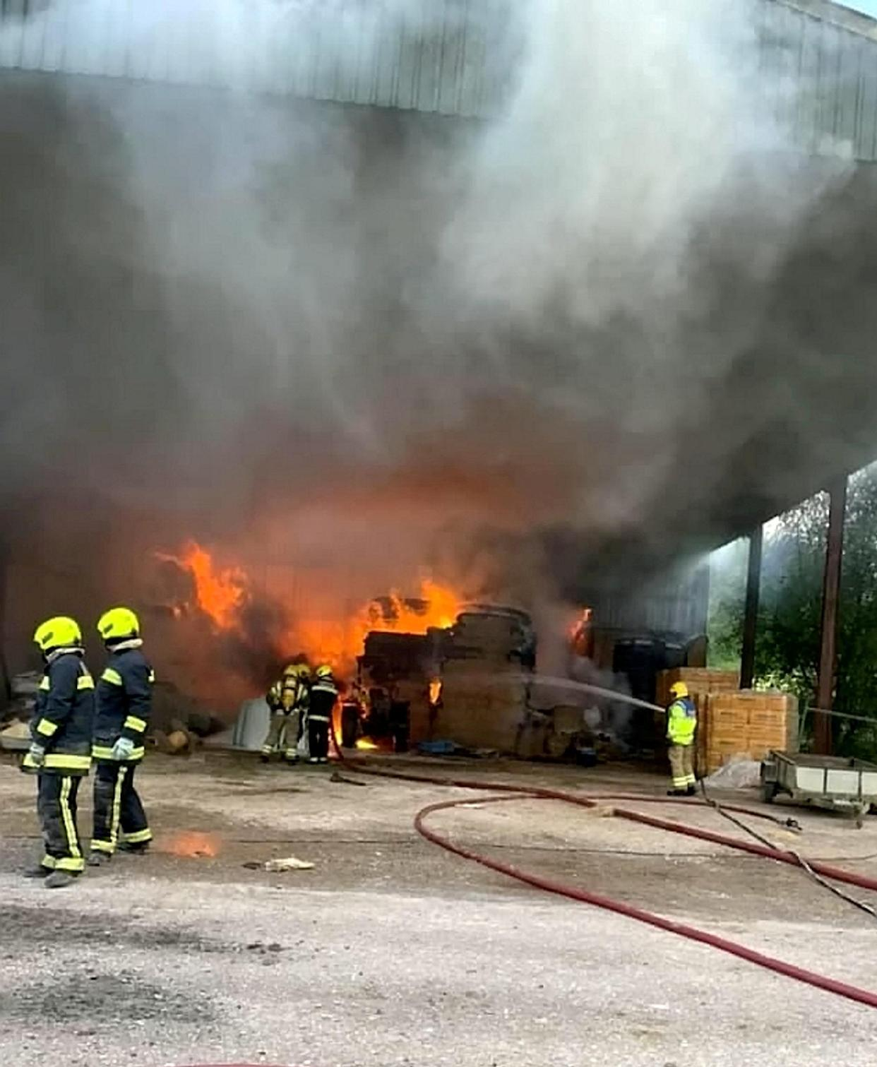 A spate of barn fires in the south west of England include one in Crewkerne, Somerset on 7 July. (SWNS)