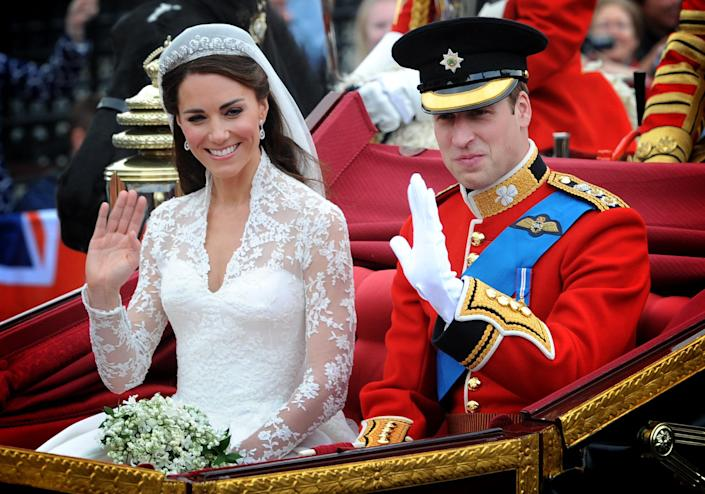 NOTE ALTERNATE CROP Prince William and his wife Kate Middleton, who has been given the title of The Duchess of Cambridge, leave Westminster Abbey, London following their wedding, to make their way to their wedding reception at Buckingham Palace.   (Photo by Stefan Rousseau/PA Images via Getty Images)