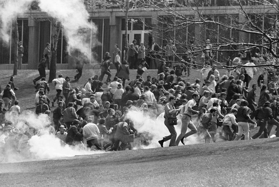 <p>On May 4, 1970 the students of Kent State University staged a mass protest against the U.S. military's bombing of the neutral state of Cambodia during the Vietnam War. When the National Guard moved in to disperse the almost 2,000-strong protest, students refused, leading to the National Guard shooting and killing four protesters, only to further enthrall civilian outcry against the military.</p>