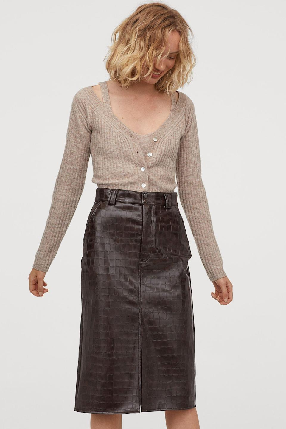 <p>I like the textured look of this <span>Faux Leather Skirt</span> ($50).</p>