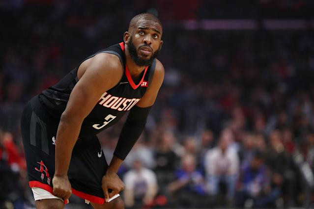 "Was <a class=""link rapid-noclick-resp"" href=""/nba/players/3930/"" data-ylk=""slk:Chris Paul"">Chris Paul</a> waiting to find out if he'd remain in Oklahoma City to address his trade to the Thunder? (Getty)"