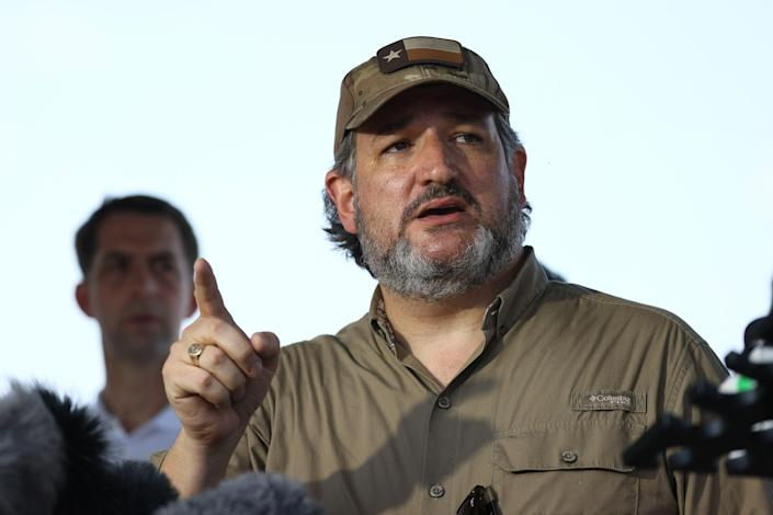 <p>Sen. Ted Cruz (R-TX) speaks to the media after a tour of part of the Rio Grande river on a Texas Department of Public Safety boat on March 26, 2021 in Mission, Texas.</p> (Photo by Joe Raedle/Getty Images)