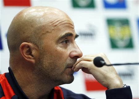 Chile manager Jorge Sampaoli attends a media conference at Wembley Stadium in London November