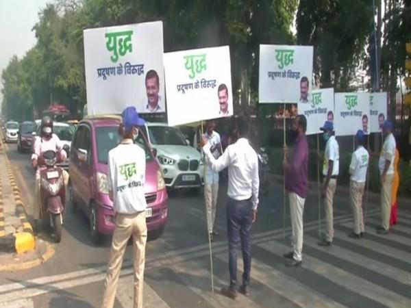 Environment marshals deployed at various location in the national capital today. (Photo/ANI)