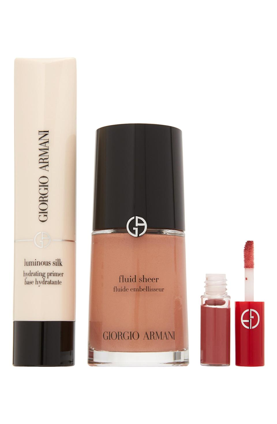 """<p><strong>GIORGIO ARMANI</strong></p><p>nordstrom.com</p><p><strong>$75.00</strong></p><p><a href=""""https://go.redirectingat.com?id=74968X1596630&url=https%3A%2F%2Fwww.nordstrom.com%2Fs%2Fgiorgio-armani-glow-set-112-value%2F5605639&sref=https%3A%2F%2Fwww.harpersbazaar.com%2Fbeauty%2Fg33481900%2Fnordstrom-anniversary-sale-2020-best-beauty-makeup-deals%2F"""" rel=""""nofollow noopener"""" target=""""_blank"""" data-ylk=""""slk:SHOP NOW"""" class=""""link rapid-noclick-resp"""">SHOP NOW</a></p><p><strong>Sale: $75</strong></p><p>Value: $112</p><p>This fan-favorite fluid highlighter creates a dewy, lit-from-within glow that makes skin look distinguishably more awake. If you've never tried it before and your skin tone is shade 2, you are in luck with this steal of a set that also comes with a blurring primer and a Lip Maestro liquid lipstick in a perfect day-to-night shade of Casual Pink. </p>"""