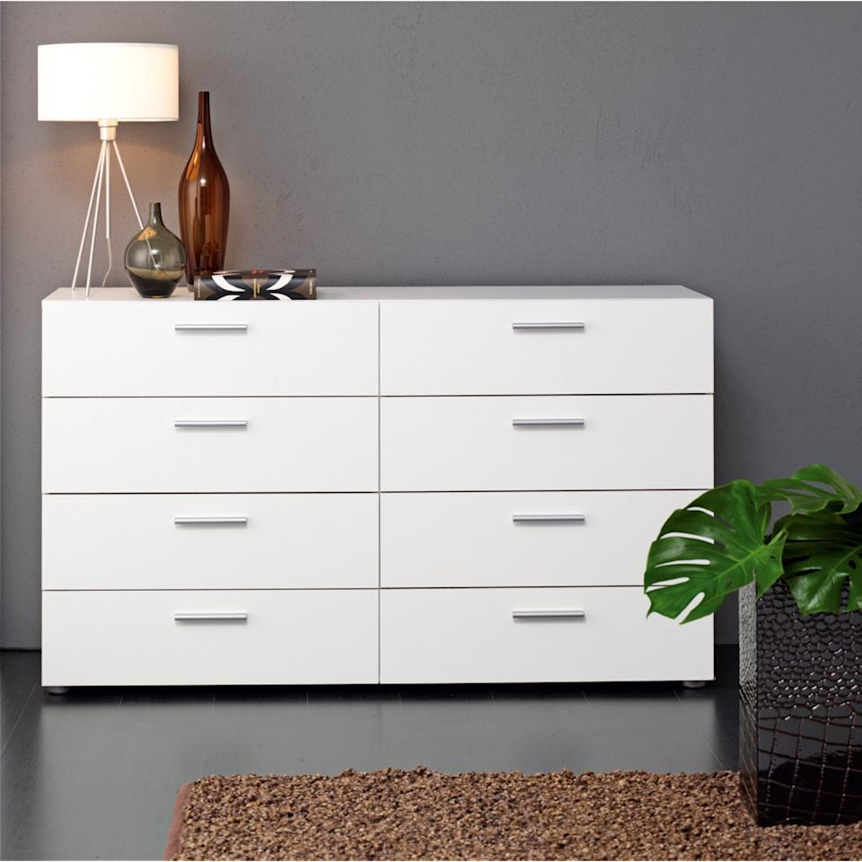 "<p>This <a href=""https://www.popsugar.com/buy/Tvilum%20Loft%208-Drawer%20Double%20Dresser-469588?p_name=Tvilum%20Loft%208-Drawer%20Double%20Dresser&retailer=walmart.com&price=160&evar1=casa%3Aus&evar9=46394007&evar98=https%3A%2F%2Fwww.popsugar.com%2Fhome%2Fphoto-gallery%2F46394007%2Fimage%2F46394272%2FTvilum-Loft-8-Drawer-Double-Dresser&list1=shopping%2Cfurniture%2Cwalmart&prop13=api&pdata=1"" rel=""nofollow"" data-shoppable-link=""1"" target=""_blank"" class=""ga-track"" data-ga-category=""Related"" data-ga-label=""https://www.walmart.com/ip/Tvilum-Loft-8-Drawer-Double-Dresser-Multiple-Colors/47634986"" data-ga-action=""In-Line Links"">Tvilum Loft 8-Drawer Double Dresser</a> ($160) is so useful, and it's neutral enough to go in any room.</p>"