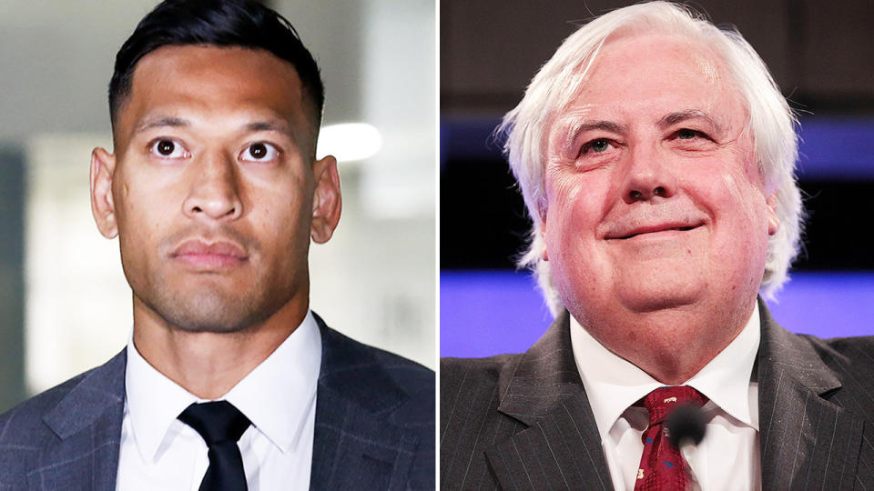 Israel Folau (pictured left) and (pictured right) billionaire Clive Palmer on stage.